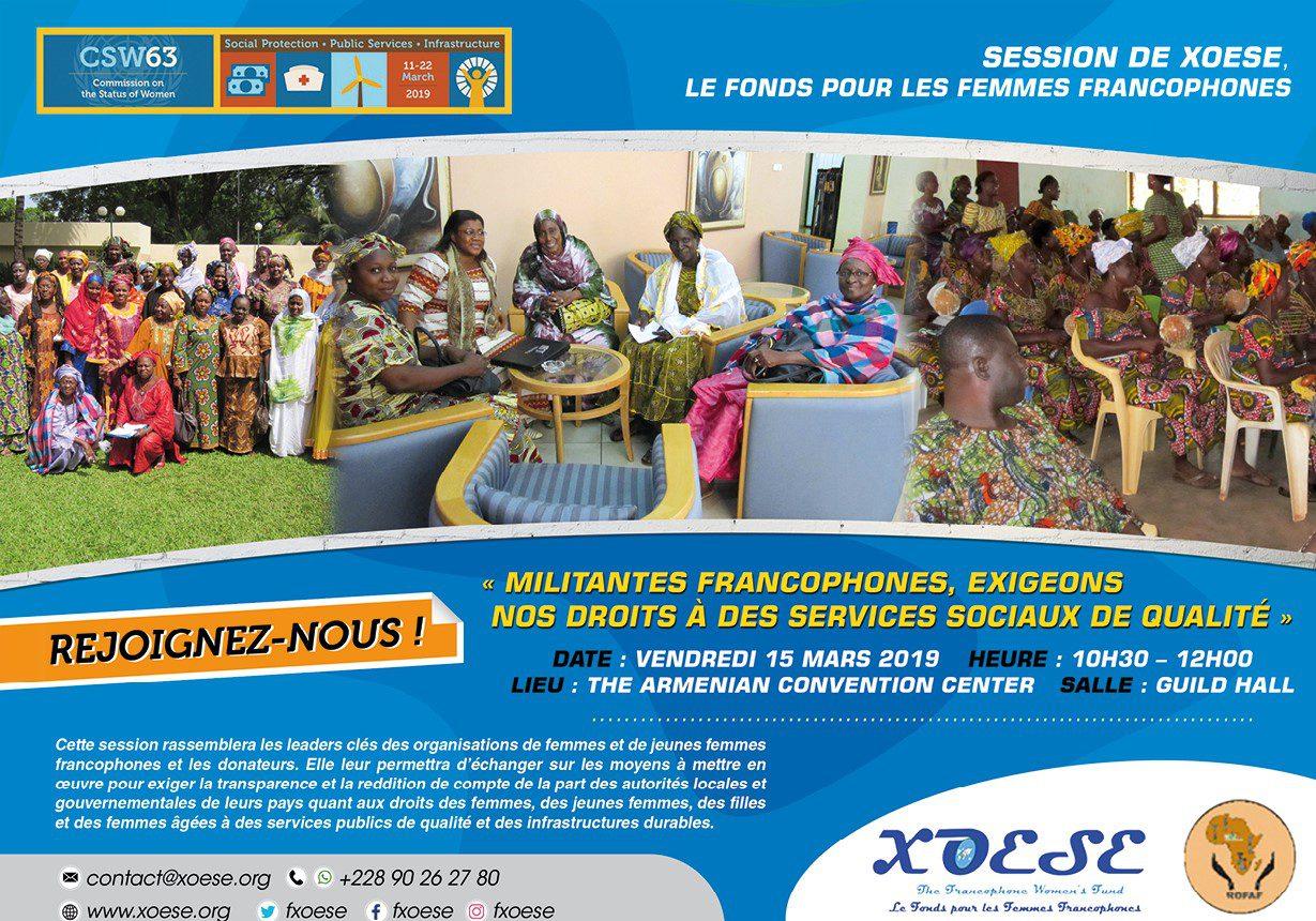 Session de XOESE, Le Fonds pour les Femmes Francophones au CSW63
