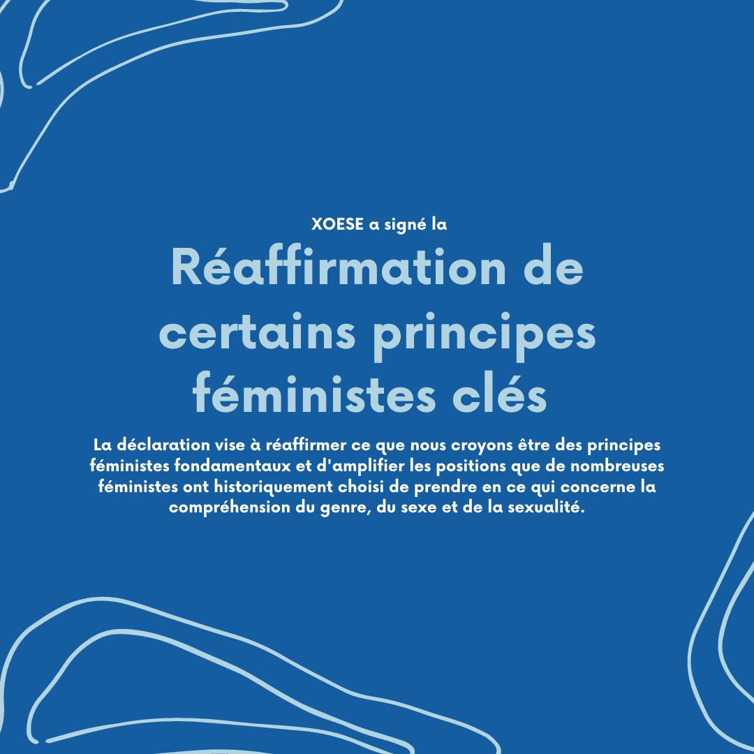 XOESE a signé une lettre qui réaffirme certaines principes féministes clés